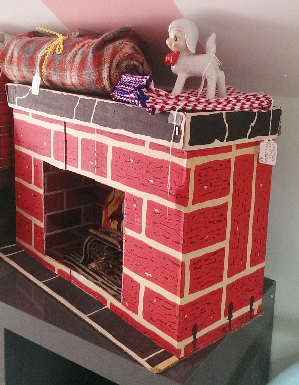 Christmas Cardboard Fireplace  Vintage 60 s Cardboard Fireplace Christmas Decor