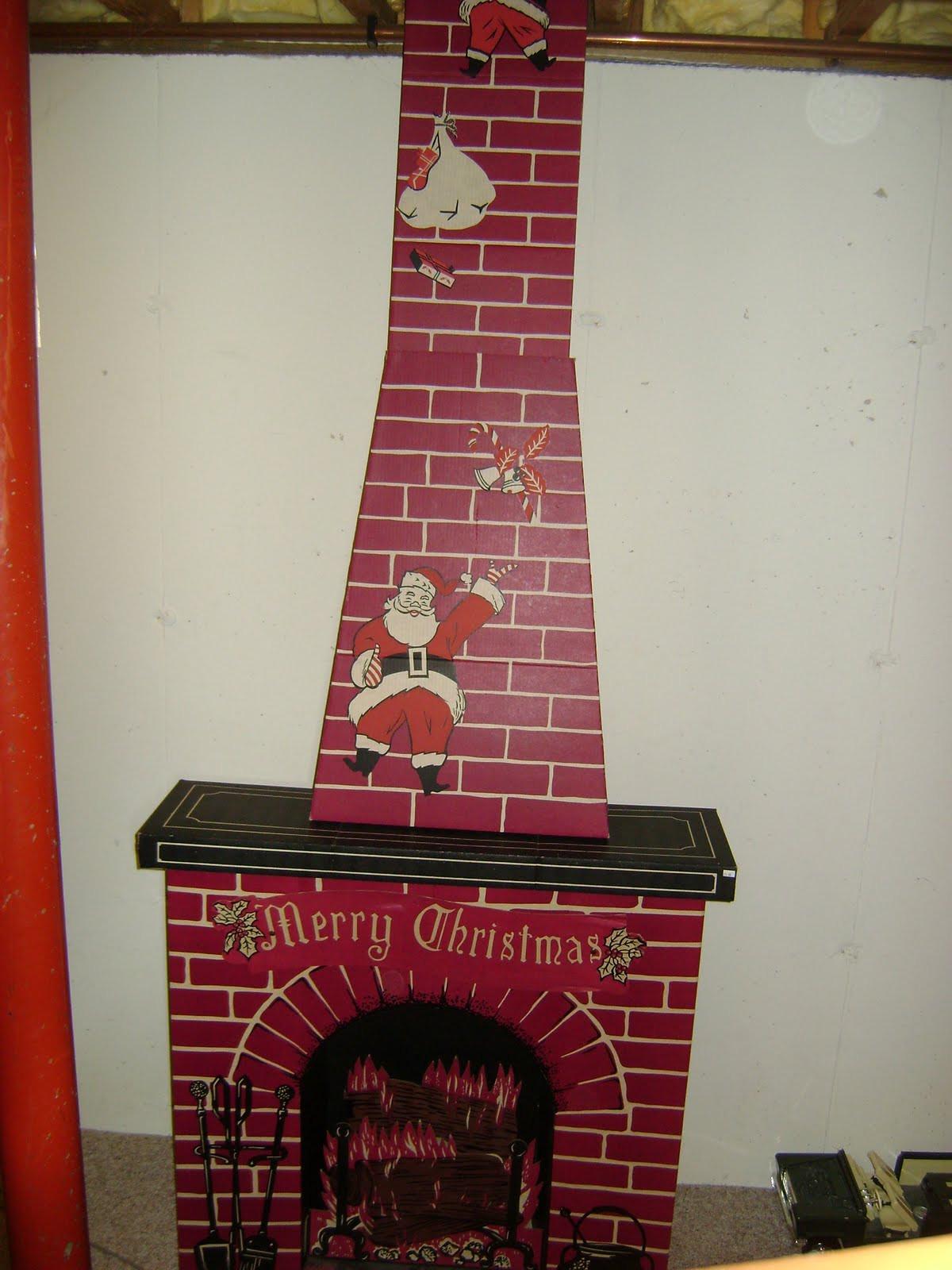Christmas Cardboard Fireplace  Adventures In Ebay Vintage Tall Cardboard Christmas Fireplace