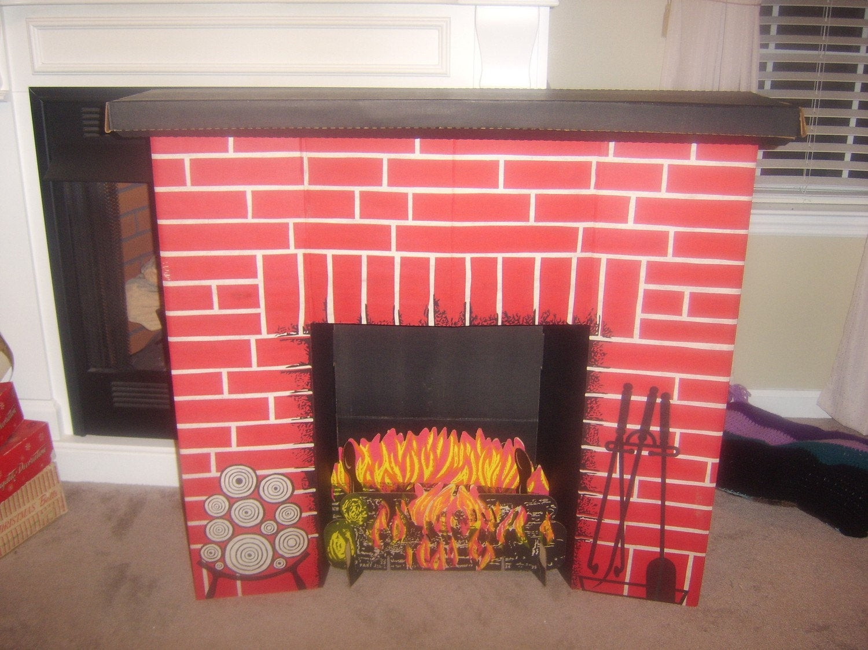 Christmas Cardboard Fireplace  Vintage Christmas Cardboard Fireplace