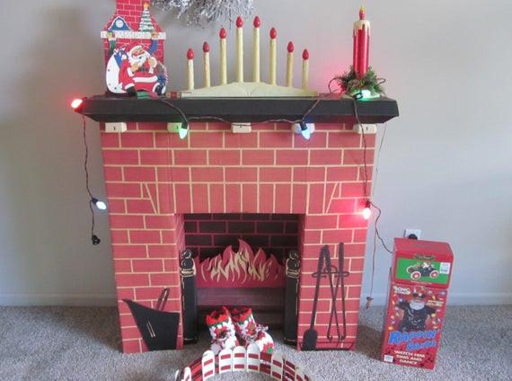 Christmas Cardboard Fireplace  RESERVE Vintage Christmas Mid Century Cardboard Fireplace