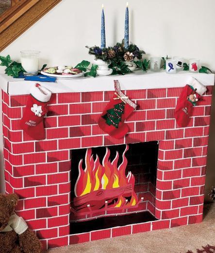 Christmas Cardboard Fireplace  Nostalgic Fireplace 3D Cardboard Kit Dino Rentos Studios