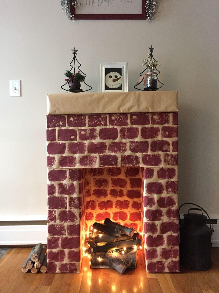 Christmas Cardboard Fireplace  Best 25 Cardboard fireplace ideas only on Pinterest