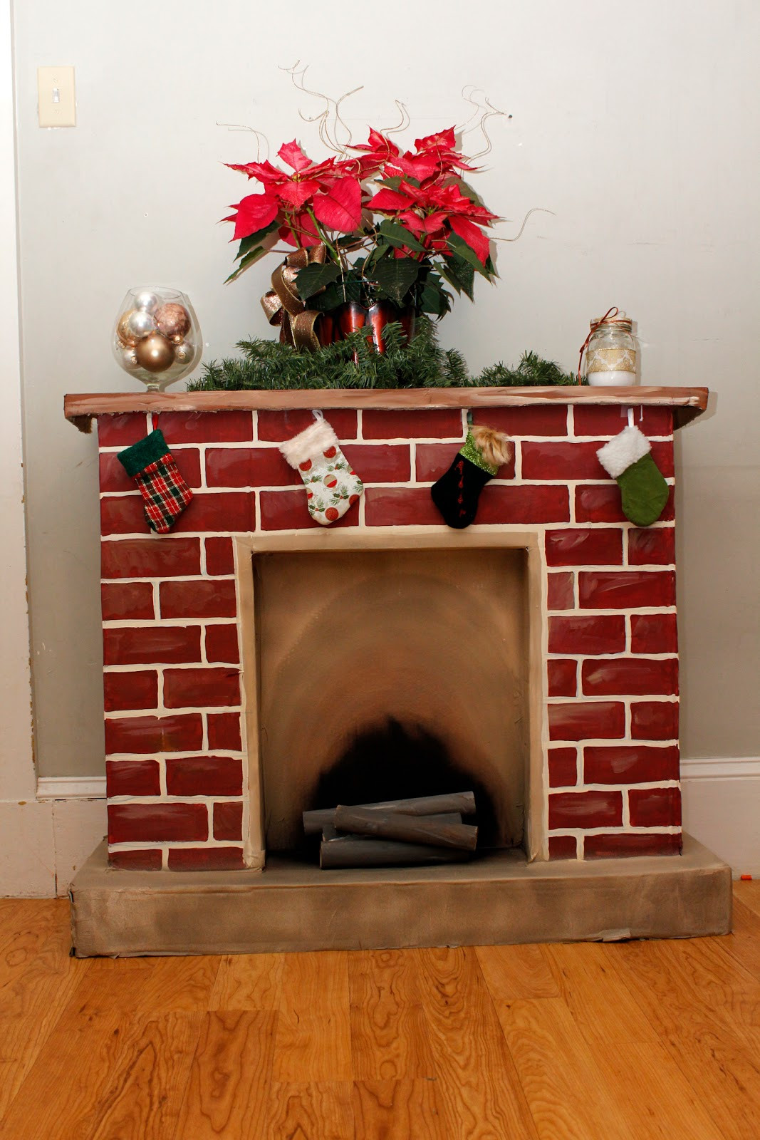 Christmas Cardboard Fireplace  365 Days to Simplicity Chestnuts roasting on an cardboard