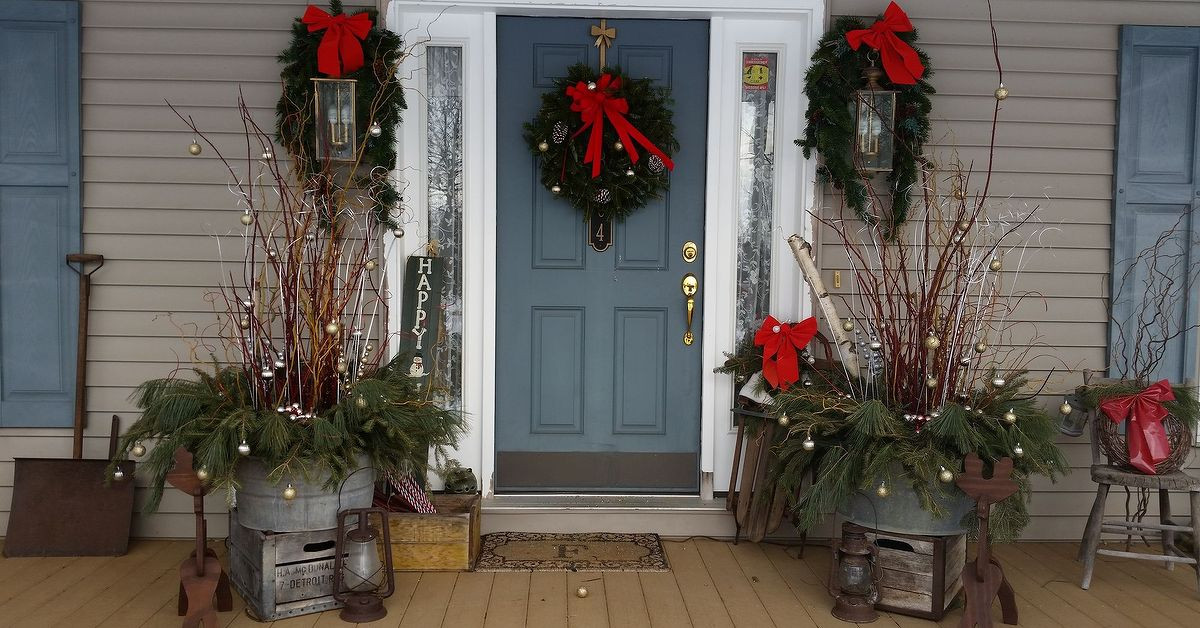 Christmas Decorations For Front Porch  How I Dressed up My Front Porch for Christmas and the