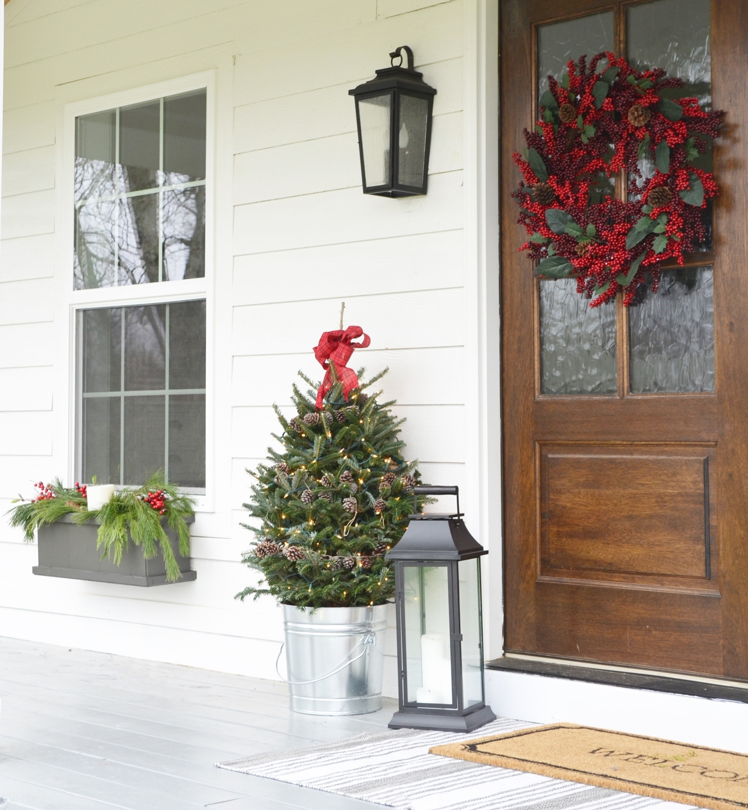 Christmas Decorations For Front Porch  Our Farmhouse Christmas Front Porch Beneath My Heart