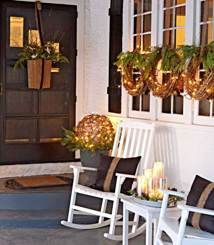 Christmas Decorations For Front Porch  40 fy Rustic Outdoor Christmas Décor Ideas