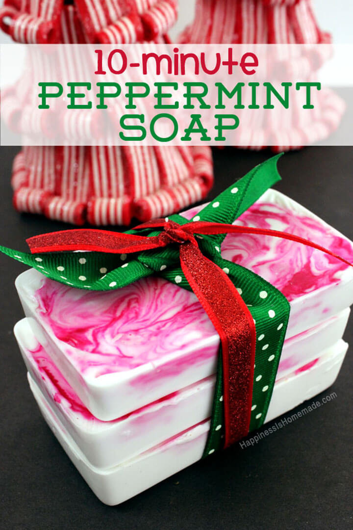 Christmas DIY Gifts  10 Minute DIY Holiday Gift Idea Peppermint Soap