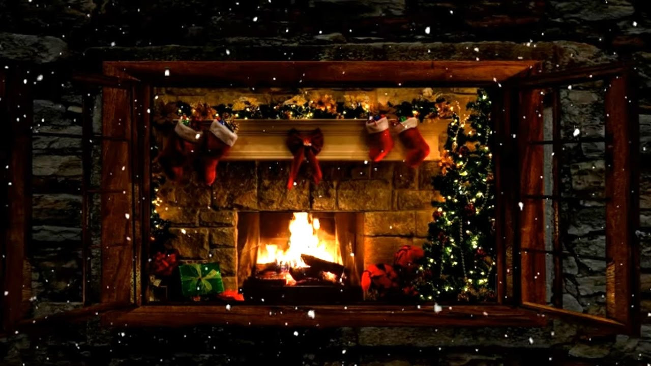 Christmas Fireplace Dvd  Christmas Fireplace Window Scene with Snow and Crackling