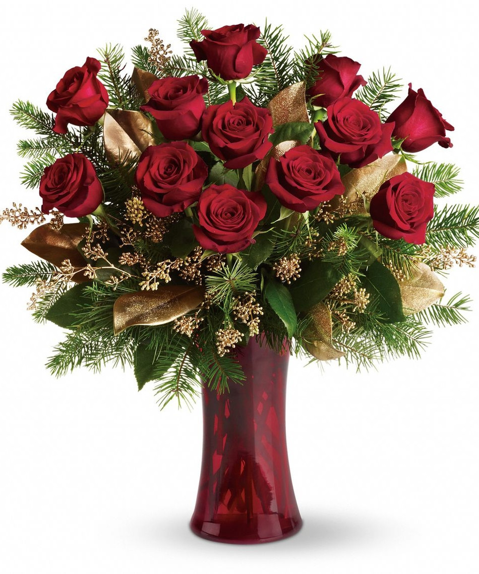 Christmas Flower Delivery  Christmas Arrangements A Christmas Dozen Roses