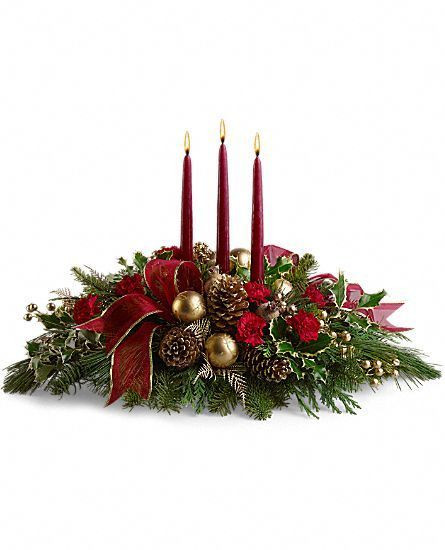 Christmas Flower Delivery  Teleflora s All is Bright fresh centerpiece Flower