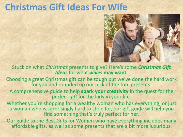 Christmas Gift Ideas For Wife  PPT christmas ts for women PowerPoint Presentation