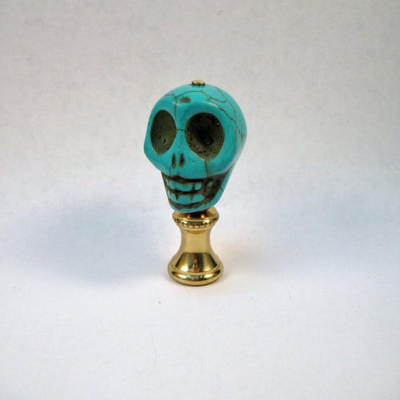 Christmas Lamp Finials  Lamp Finial Halloween Turquoise Skull A Holiday Accent to