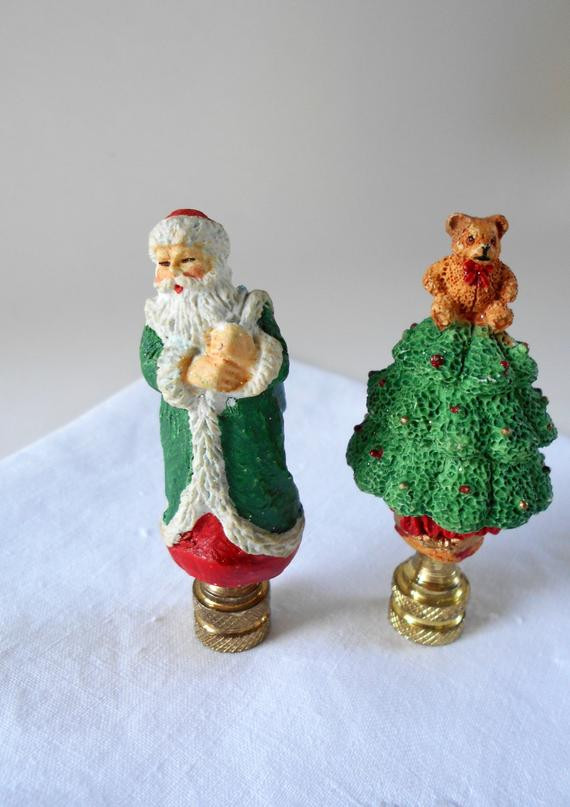 Christmas Lamp Finials  Pair of Christmas Holiday Lamp Finials Brass Bases Saint Nick