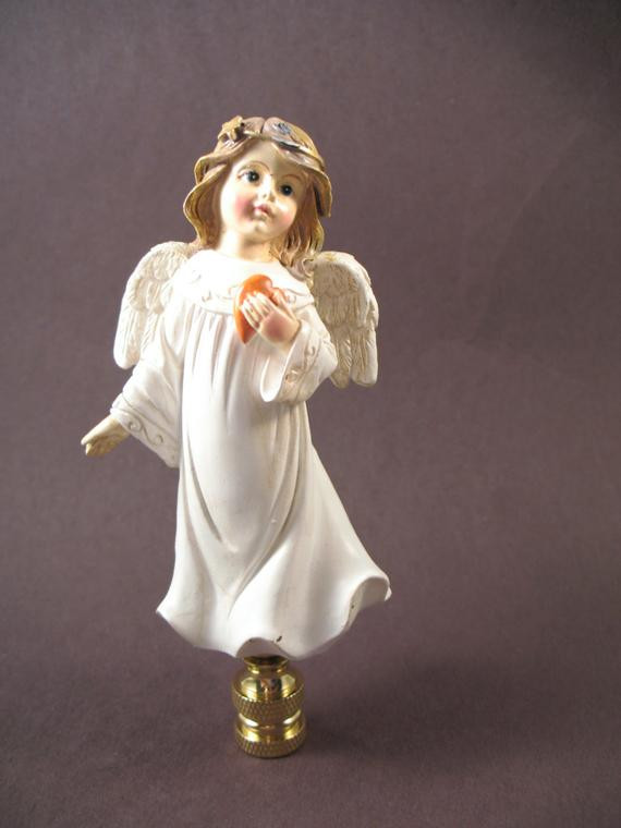 Christmas Lamp Finials  Lamp Finial Christmas Holiday Angel in White Robe with
