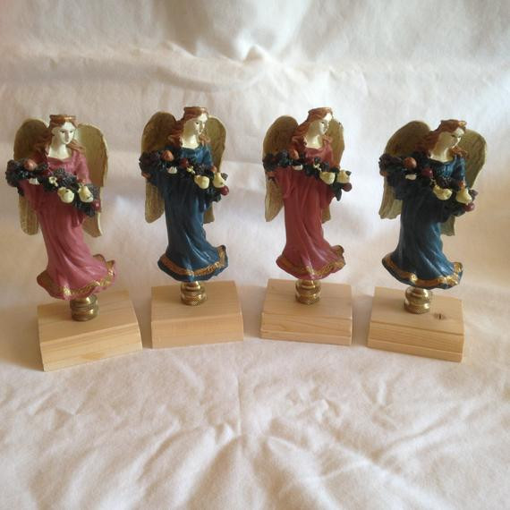 Christmas Lamp Finials  Lot of 4 Christmas Angel Lamp Finials Toppers Cast Resin