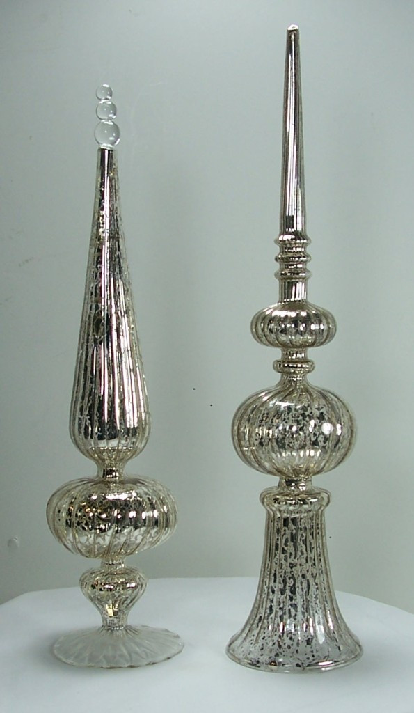Christmas Lamp Finials  Antique Style Silver Mercury Glass Finial Ornaments