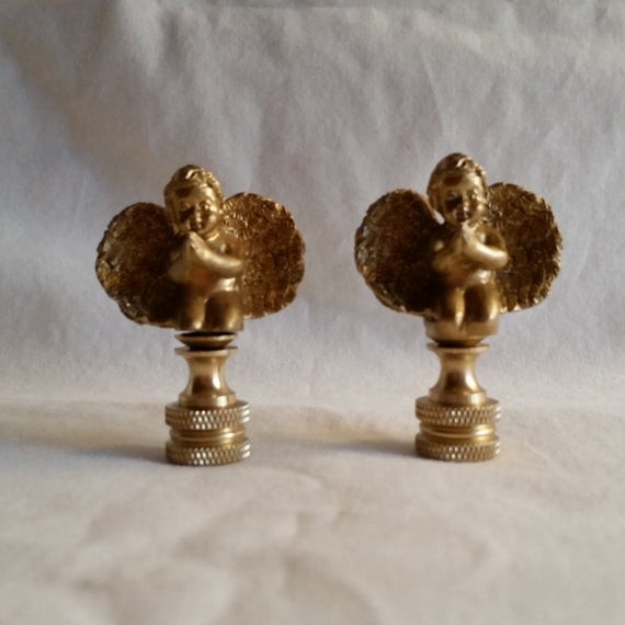 Christmas Lamp Finials  Lot of 2 Kneeling Gold Angel Child Lamp Finials Toppers Cast