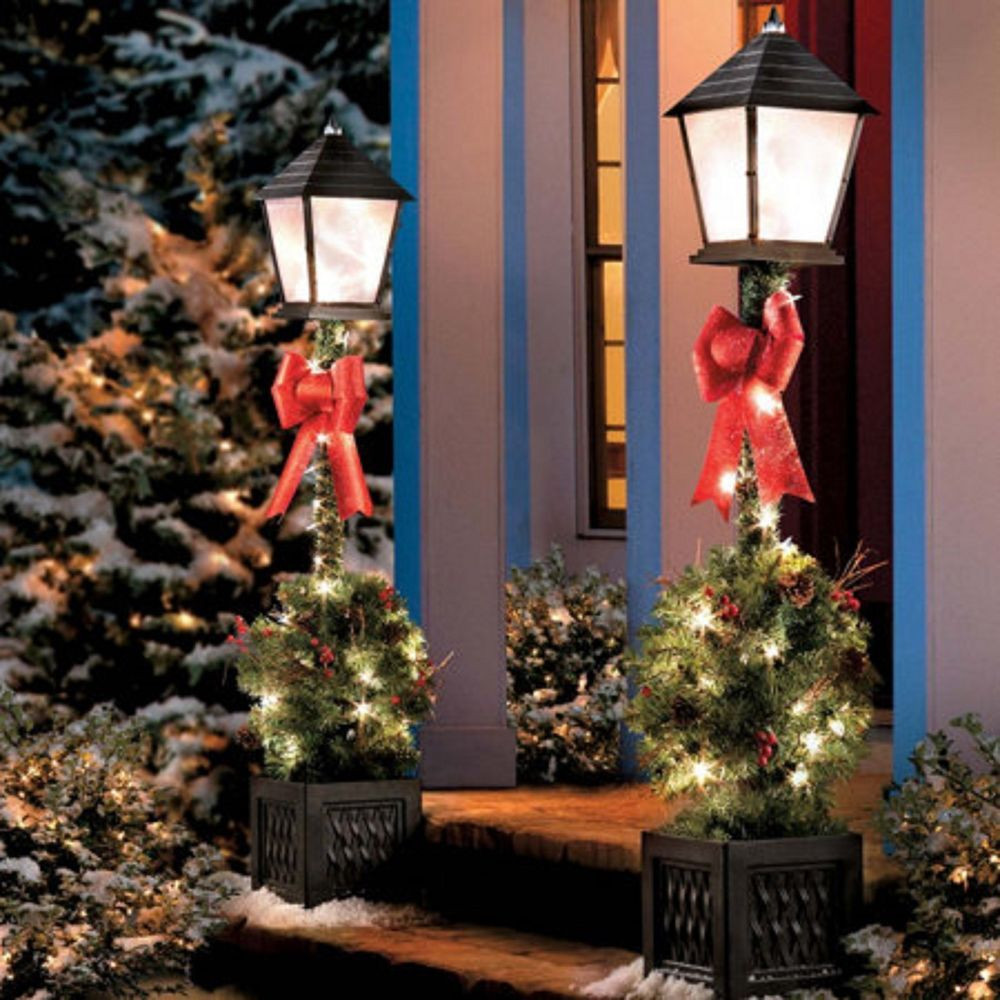 Christmas Lamp Post Decorations  4 Lighted Victorian Lamp Post w Greenery Pre Lit Outdoor