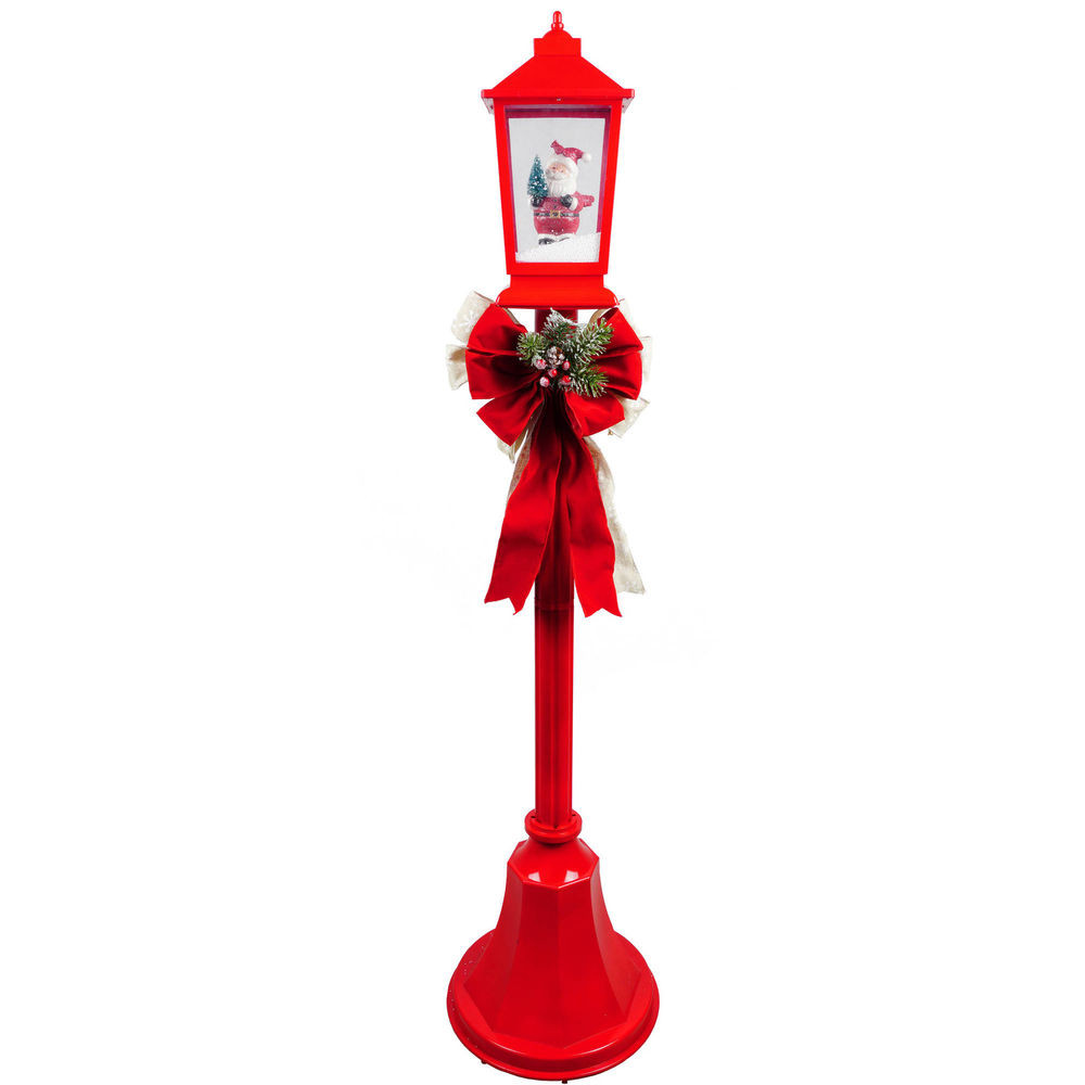 Christmas Lamp Post Decorations  Christmas Lamp Posts With Snow Blowing Scenes & Music