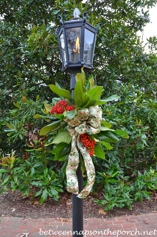 Christmas Lamp Post Decorations  Decorate a Lantern for Christmas with Fresh Greenery
