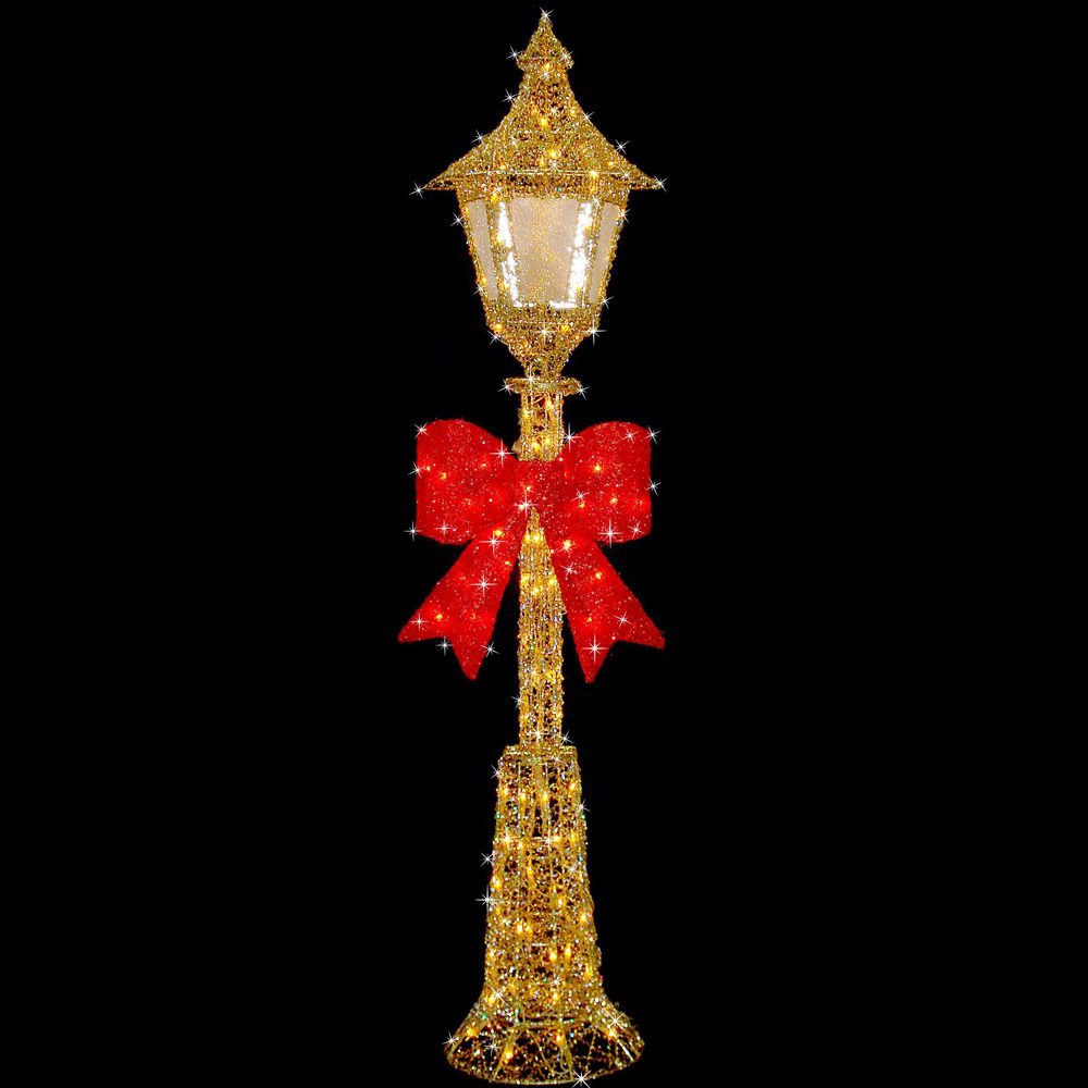 Christmas Lamp Post Decorations  Festive Gold Wire 150cm Christmas Lamp Post Decoration