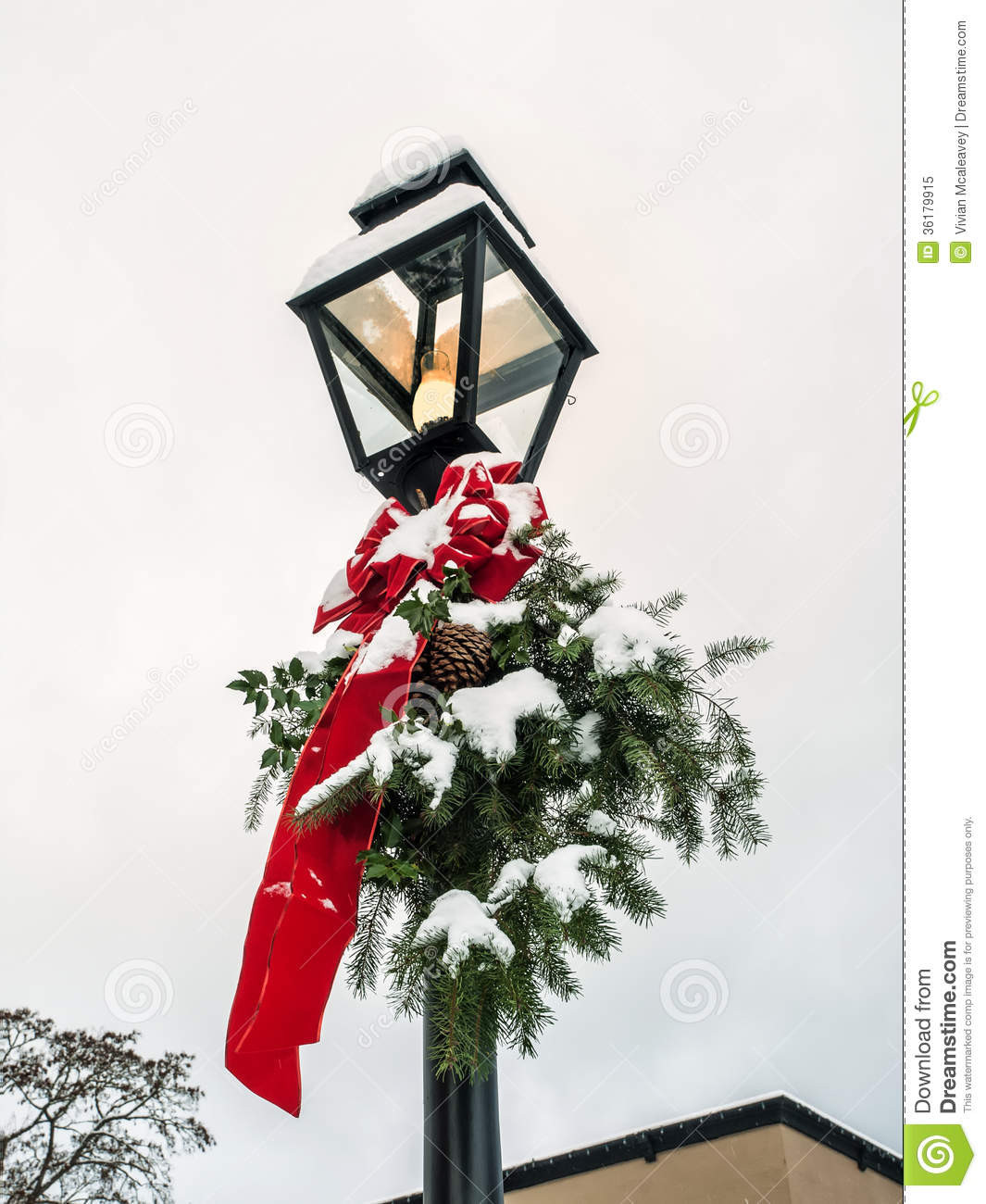Christmas Lamp Post Decorations  Lamp Post With Christmas Decoration Stock Image Image of