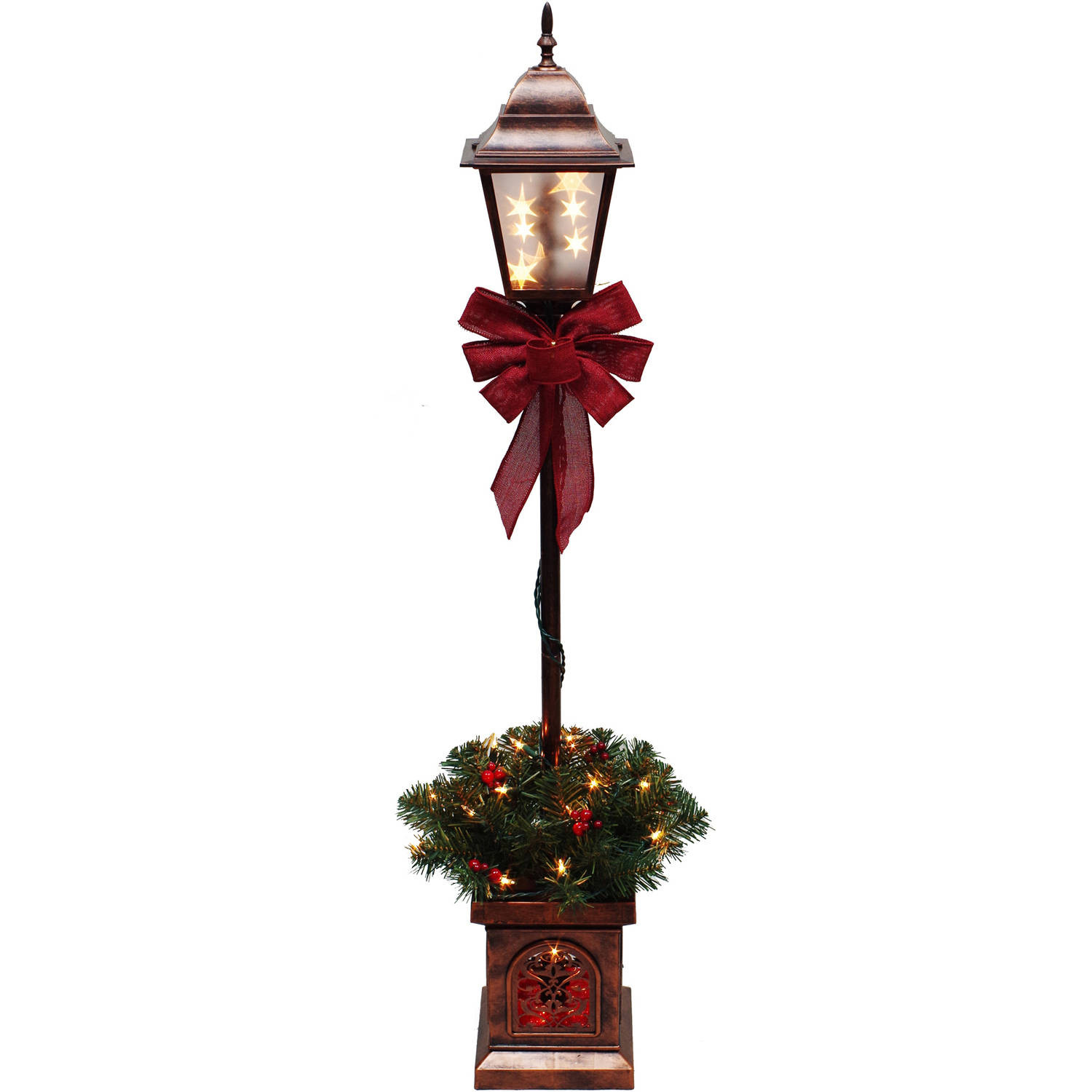 Christmas Lamp Post Decorations  Holiday Time Pre Lit 9 Brinkley Christmas Tree Green