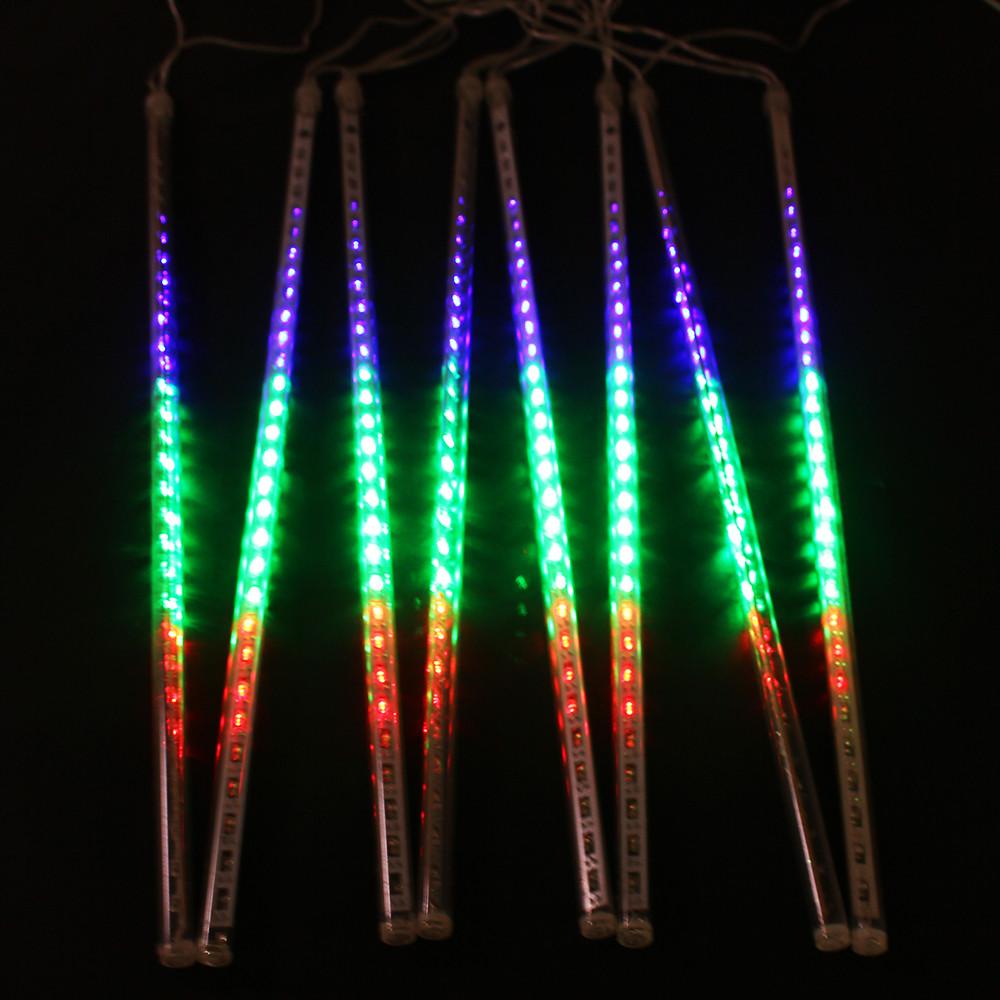 Christmas Lighting Videos  8pcs set Multi color 50CM Meteor Shower Rain Tube Outdoor