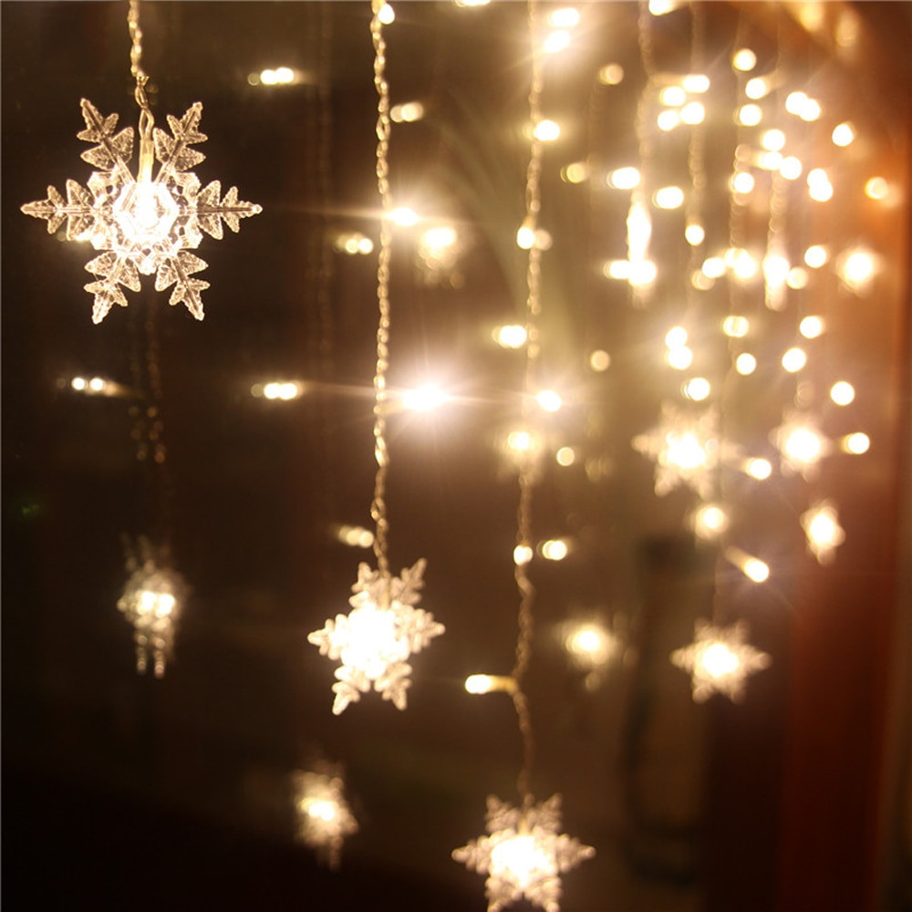 Christmas Lighting Videos  Connectable 5M 3 5M LED Curtain Snowflake Shaped String