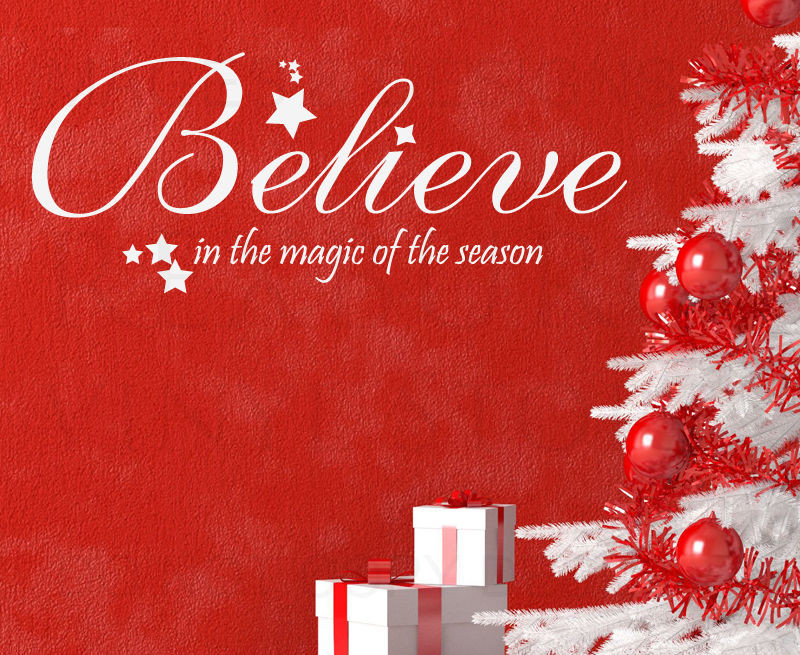 Christmas Magic Quote  Wall Decal Quote Vinyl Sticker Art Lettering Believe