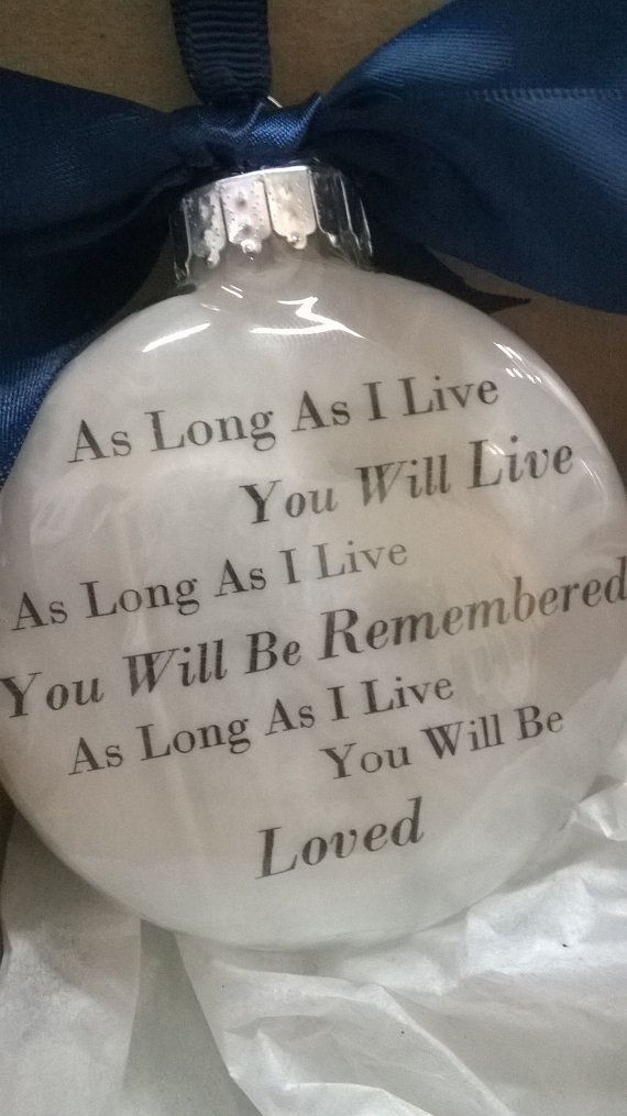 """Christmas Ornament Quotes  In Memory Gift Memorial Remembrance Christmas Ornament """"As"""
