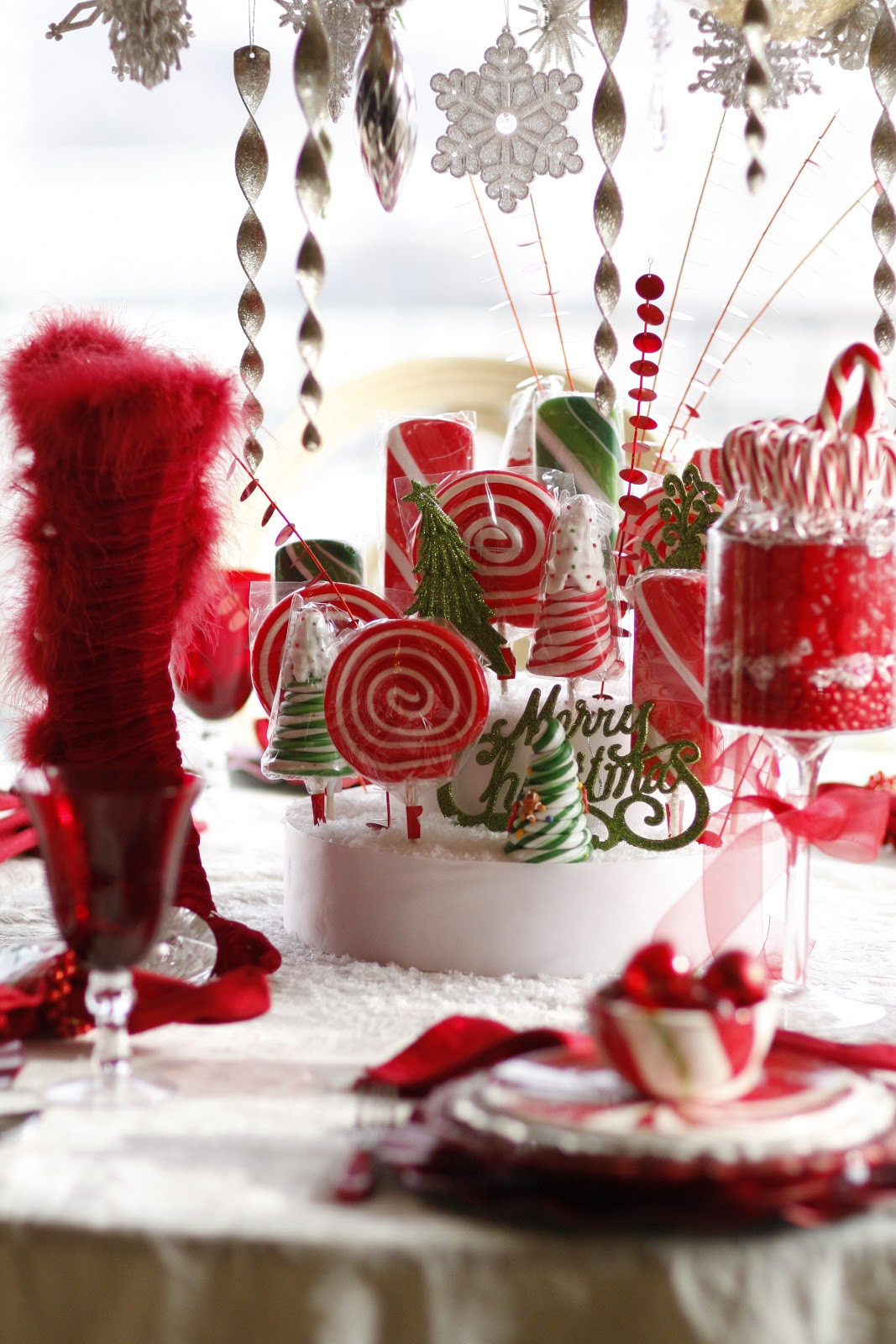 Christmas Party Centerpiece Ideas  Mrs Claus Candy Table Purple Chocolat Home