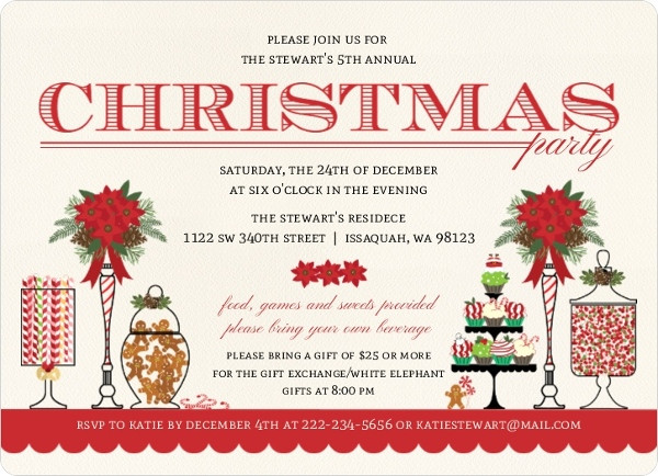 Christmas Party Invitation Ideas  Christmas Party Invitation Wording From PurpleTrail