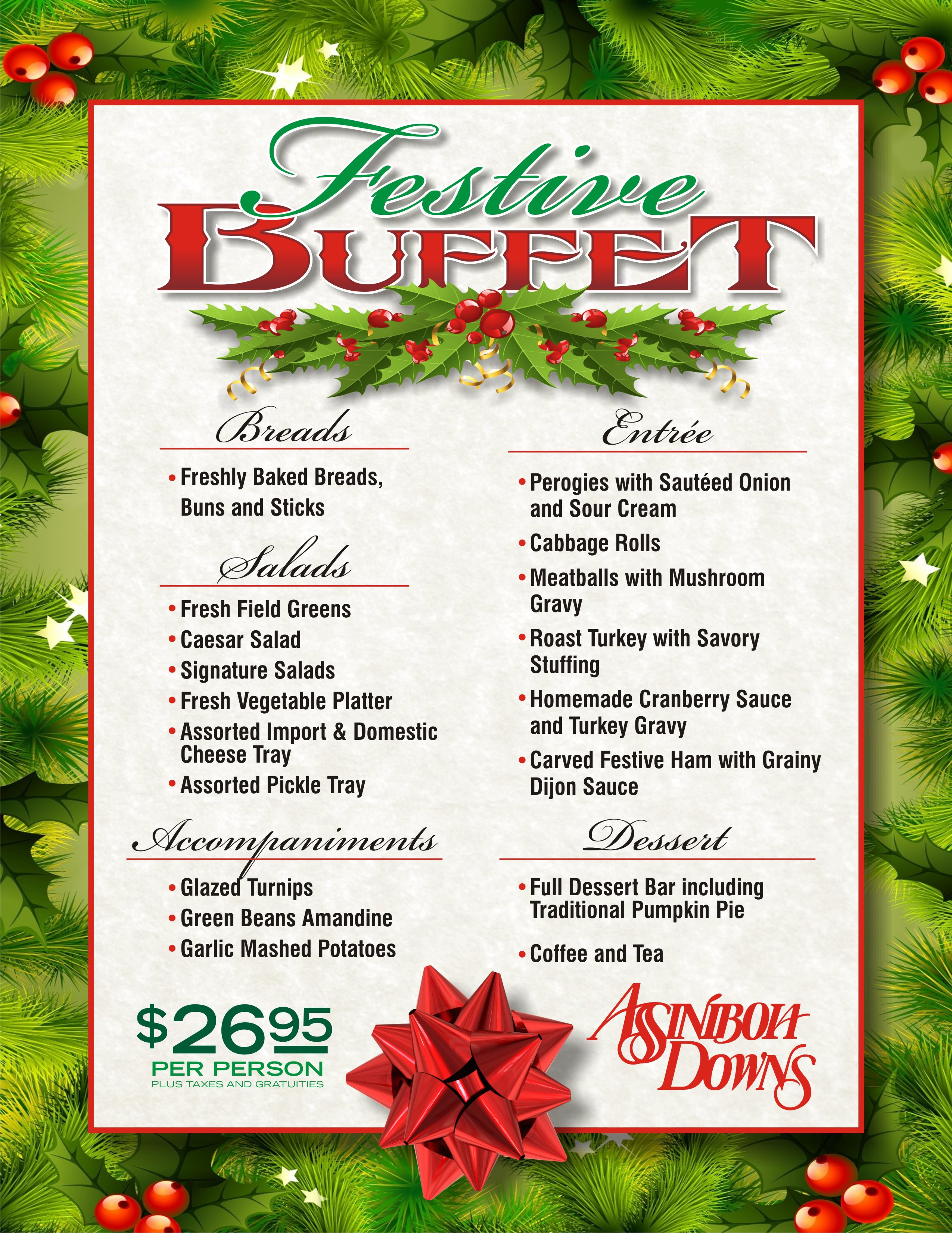 Christmas Party Menu Ideas For Large Groups  Dining Assiniboia Downs Live Racing Simulcast Racing