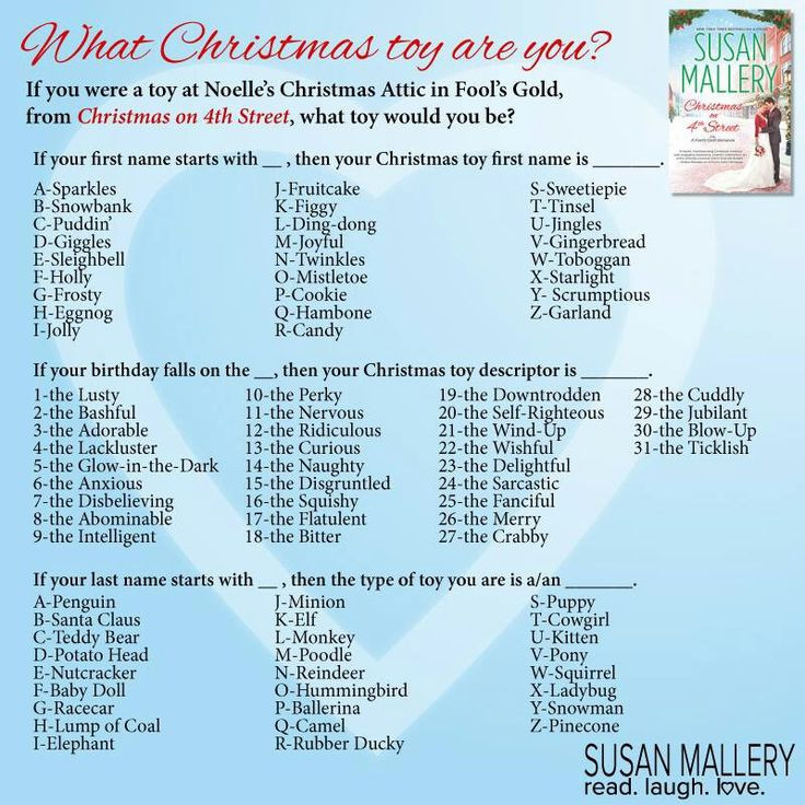 Christmas Party Name Ideas  What s your Christmas toy name Sparkles the Self