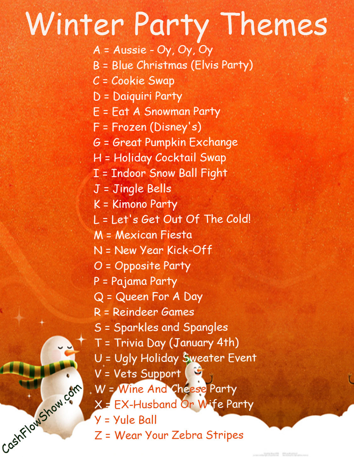 Christmas Party Name Ideas  Read A Z List To Find A Winter Party Theme For Your Event
