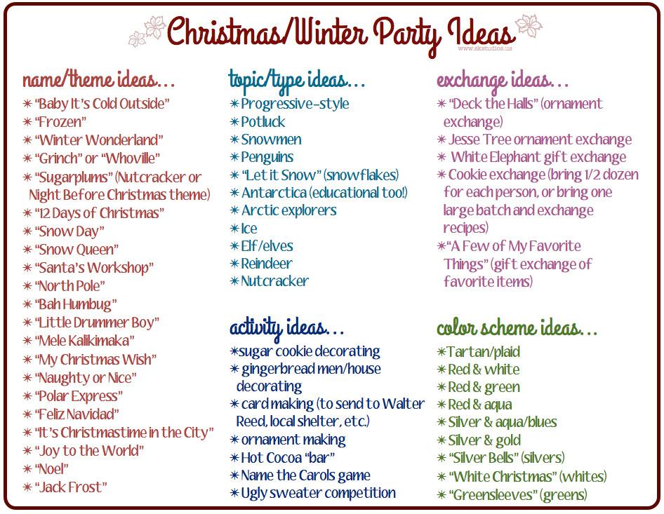Christmas Party Name Ideas  SK Studios Homemaking 31 Days Advent Calendar & bonus