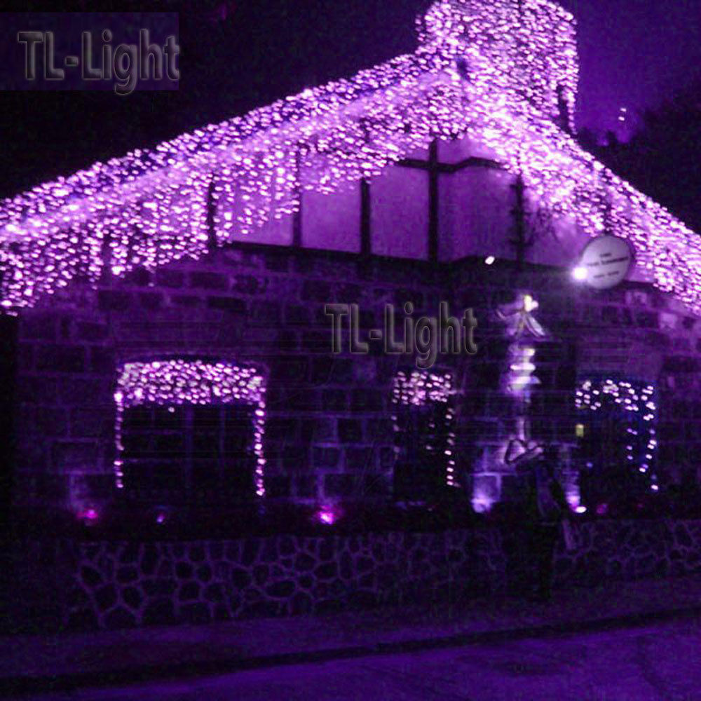 Christmas Porch Lights  10FT Holiday Living 100 PURPLE LED Bulb ICICLE Indoor