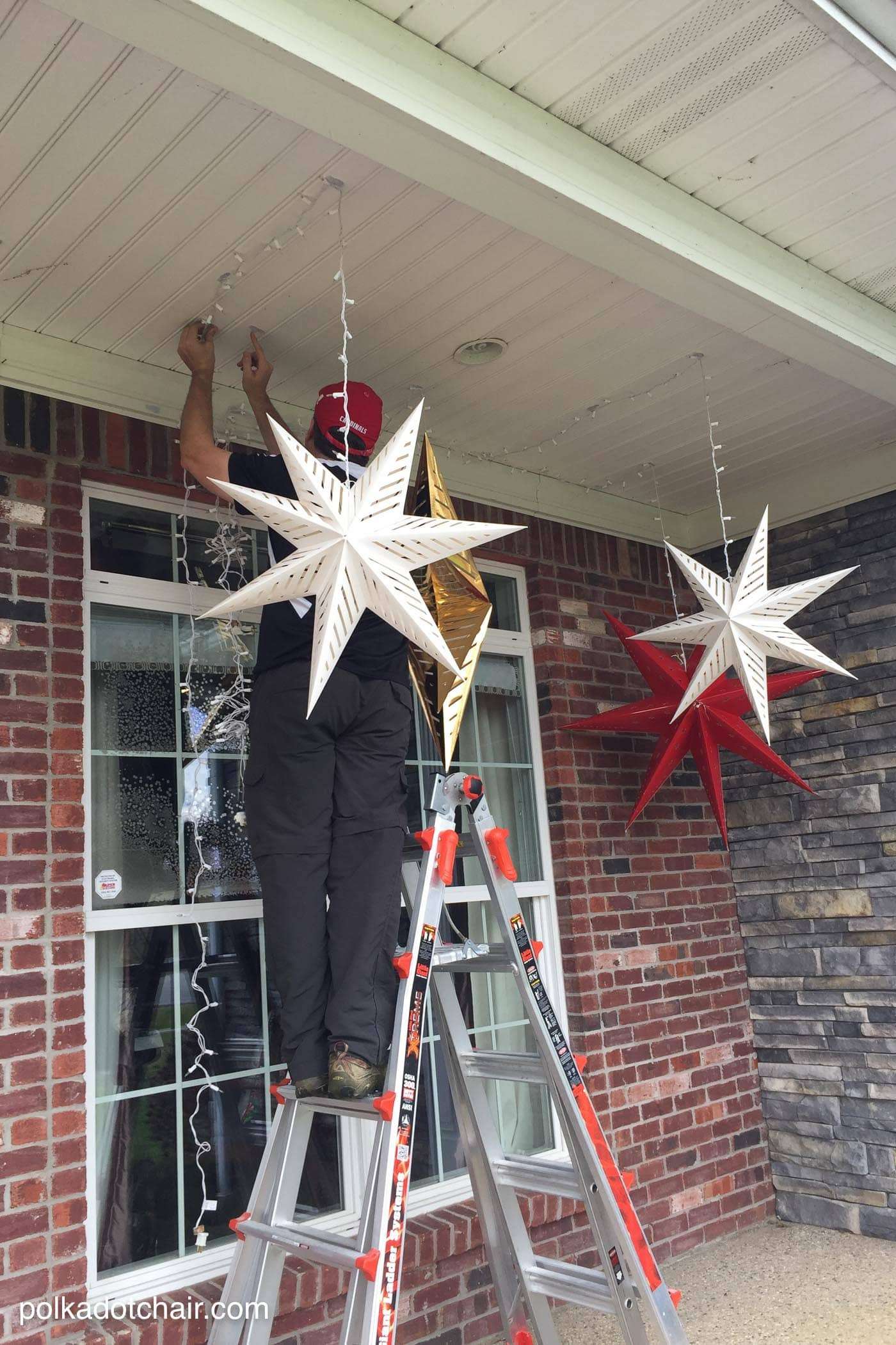 Christmas Porch Lights  Hanging Star Lanterns a Christmas Front Porch Decorating