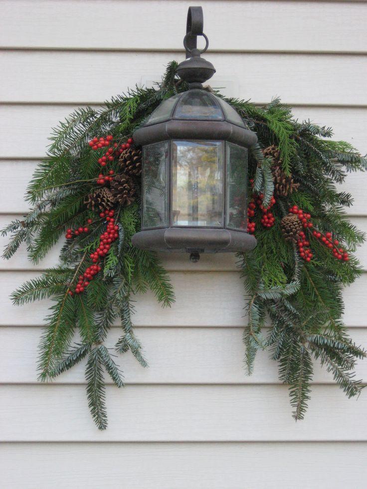 Christmas Porch Lights  Simple Lantern Swag … Christmas