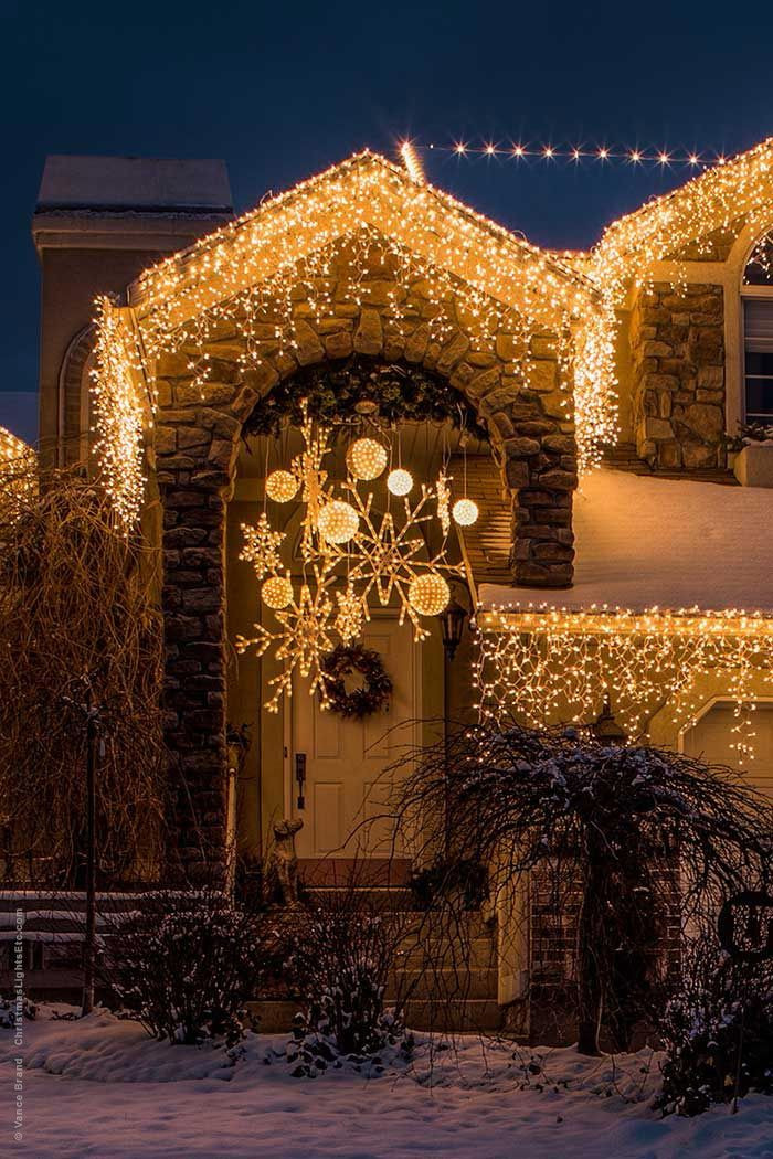 Christmas Porch Lights  Christmas Decorating With Lighted Snowflakes