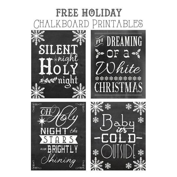 Christmas Quotes From Songs  Free Christmas Songs Printable Chalkboard Art