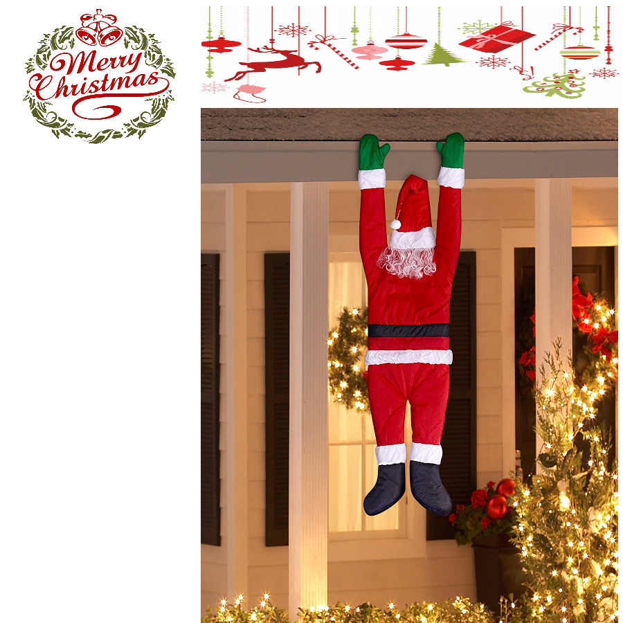 Christmas Rooftop Decorating Ideas  Funny Outdoor Christmas Decoration Santa Hanging Roof
