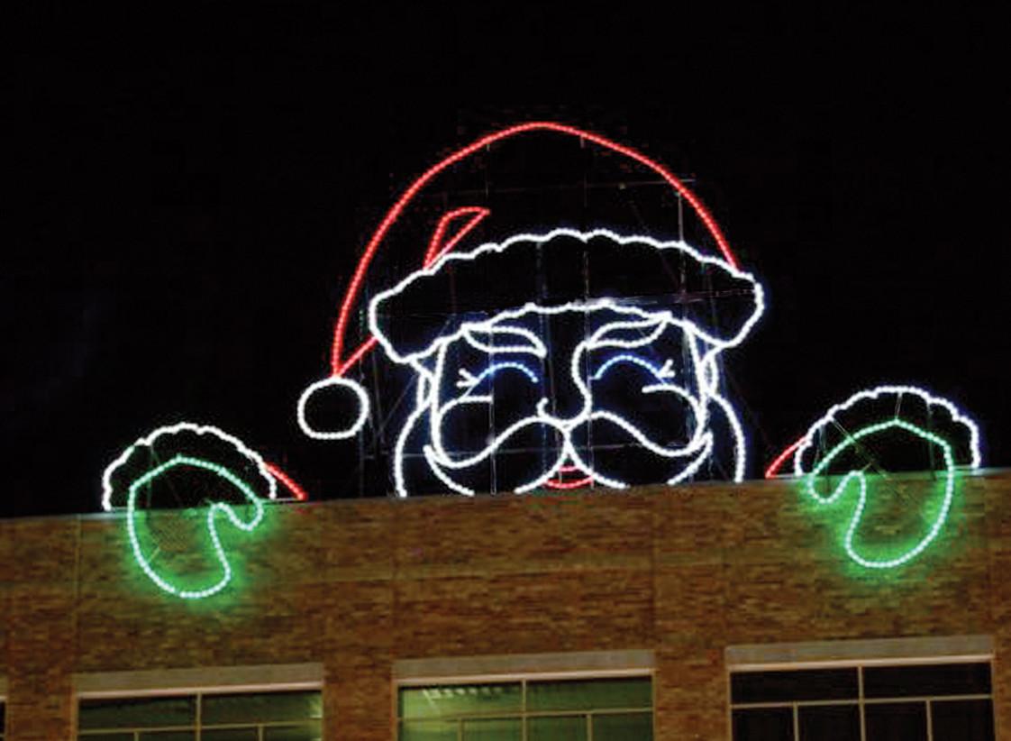 Christmas Rooftop Decorating Ideas  Peeking Santa 43 x 20