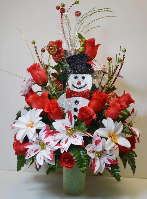 Christmas Silk Flower Arrangements  Christmas arrangements Saddles and Vase on Pinterest