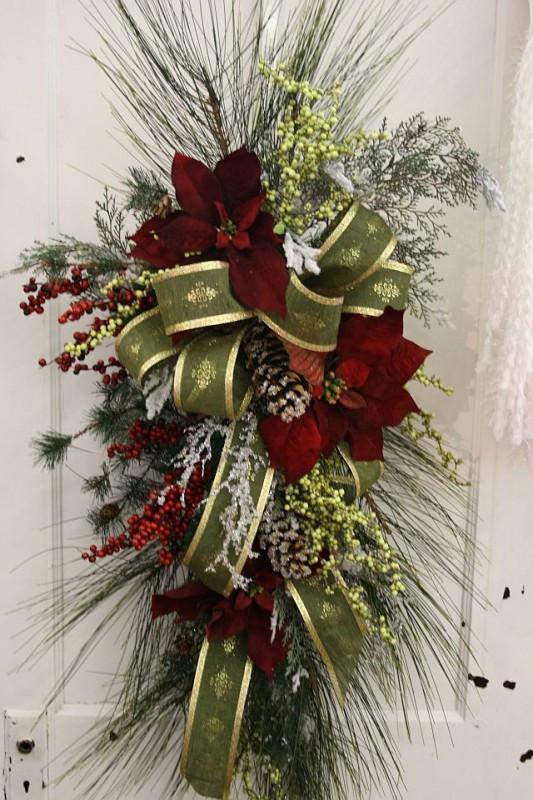 Christmas Silk Flower Arrangements  Wreaths and Garland Fruit Basket Flowerland