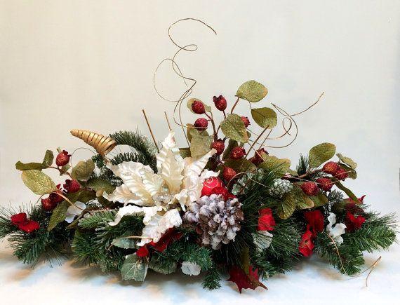 Christmas Silk Flower Arrangements  White Poinsettia CHRISTMAS CENTERPIECE Christmas Decor
