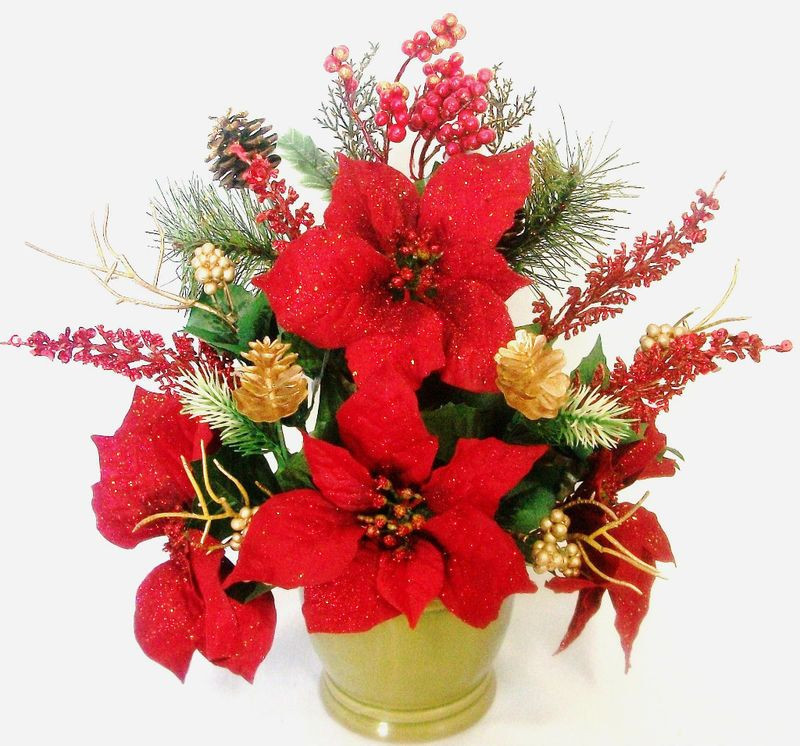 Christmas Silk Flower Arrangements  Christmas Silk Flower Floral Arrangement Poinsettias