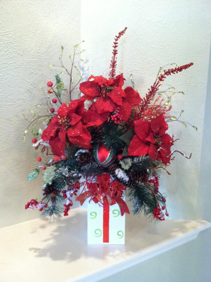 Christmas Silk Flower Arrangements  Christmas Silk Floral Arrangement Present Container Design