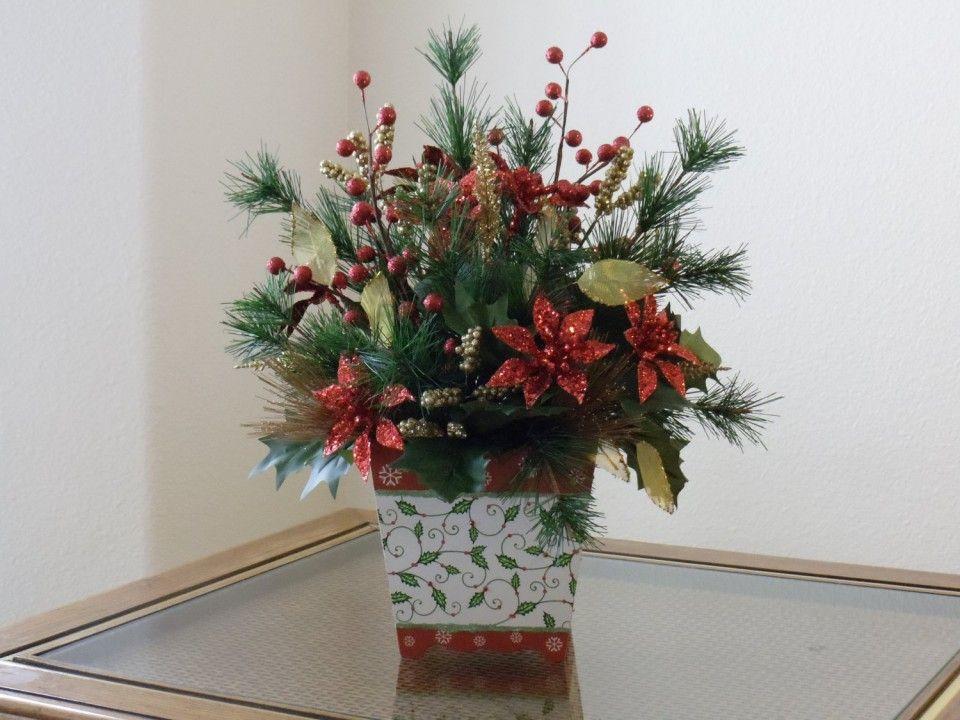 Christmas Silk Flower Arrangements  Homemade Christmas Fake Flower Arrangements Poinsettia